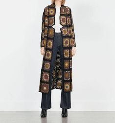 crochet coat with motifs squareshandmade itemgift ideas Poncho Crochet, Mode Crochet, Crochet Jacket, Crochet Granny, Hand Crochet, Long Jackets For Women, Cardigans For Women, Coat Patterns, Outerwear Women