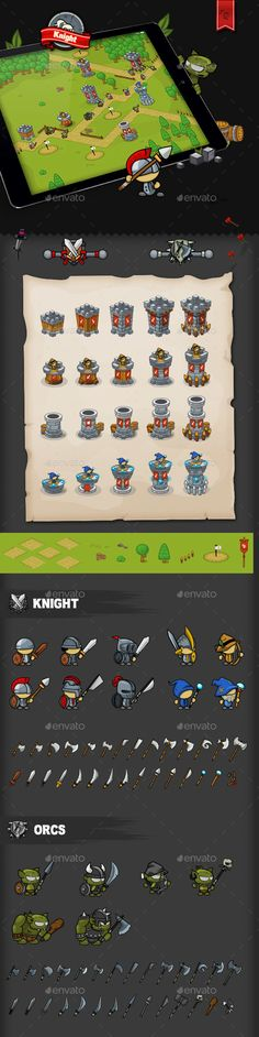 Tower Defense Game Set Knight | DOWNLOAD: https://graphicriver.net/item/tower-defense-game-set-knight/20027353?ref=sinzo #Game Kits Game #Assets