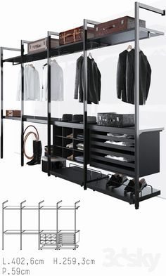 models: Clothes and shoes - Porro Storage, Open Wardrobe, Wardrobe Storage, Bedroom Wardrobe, Wardrobe Closet, Walk In Closet Design, Bedroom Closet Design, Closet Designs, Bedroom Decor, Garderobe Design