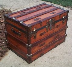 Side - All Wood Large Size Flat Top  Antique Steamer Trunk #366