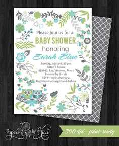 Owl Baby Shower Invitation  Custom Owl Shower by PapersbyNica, $10.00