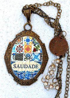 Portugal Antique Azulejo Tile Replica  Necklace  SAUDADE by Atrio,