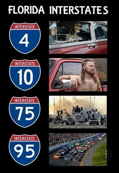 Florida Interstates in a Nutshell : funny Florida Man Meme, Florida Quotes, Florida Funny, Miss Florida, Florida Girl, State Of Florida, Florida Humor, Florida Gator Memes, Hurricane Memes