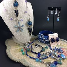 Mixed Blue Costume Jewelry Lot Flowers Boho Fairy Beads Starfish 7 Pair Earrings