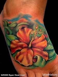 Hibiscus Flower Foot Tattoo  Artistsorg