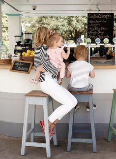 I wish I could wear white jeans . The red sandals look great here with the Bretton top. Perfect spring/fall outfit
