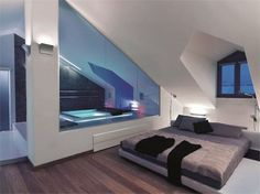 Bath in attic space...something like this but not so modern