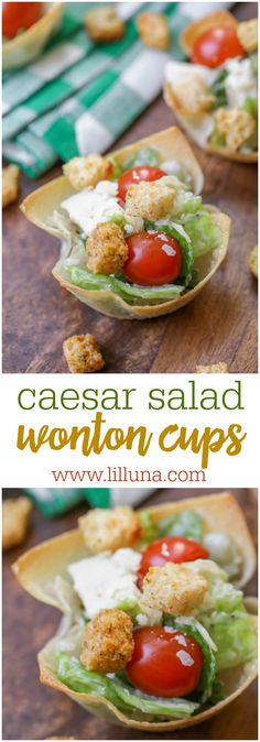 Caesar Salad Wonton Cups - a quick, simple and tasty side dish or appetizer. They're great for showers and parties!