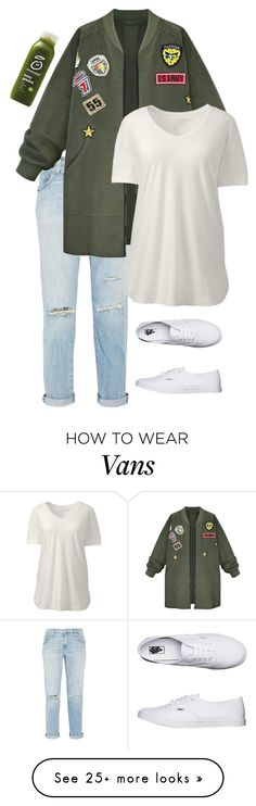 """""""💚"""" by blah-blah-blah-black on Polyvore featuring Current/Elliott, WithChic, Lands' End, Vans and plus size clothing"""