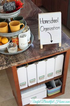 Keeping homeschool organized at the kitchen table