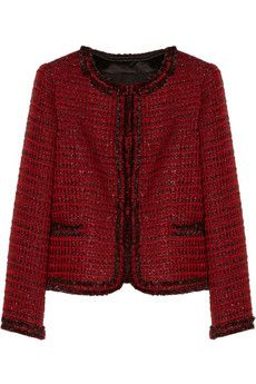 Chane1 style, Alice + Olivia Kidman metallic tweed cardigan jacket | NET-A-PORTER