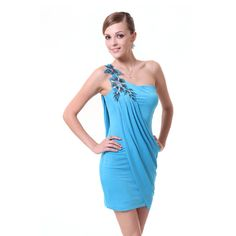 Ever-Pretty- -Ever Pretty One Shoulder Blue High Stretch Ornamental Mini Cocktail Dress 03594 $49.99