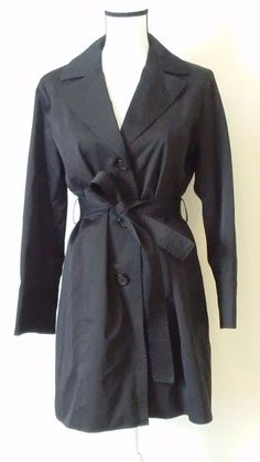 "Talbots trench coat. Size petite medium. Top of shoulder to end of coat arm 23"". Top of shoulder to bottom of coat 33"". Underneath armpit to end of coat arm 17"". Medium length. Black with black lining. | eBay!"