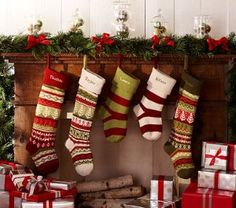 Mismatched knit stockings--stagger short & long