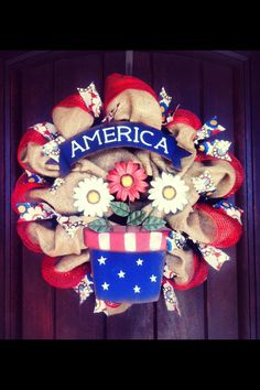 Summer Patriotic Burlap Wreath. $45 The Dressy Door on Facebook