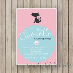 Kitty Cat Birthday Invitation  Cat Party  First Second Third