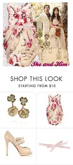 """""""Lingering Still"""" by elizabethcarter ❤ liked on Polyvore featuring Zooey, Marni, Dolce&Gabbana, Christian Louboutin, ASOS, strapless dresses, floral dresses, platform heels, indie and bows"""
