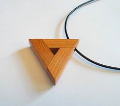 Cherry Wood Delta Triangle Pendant with Cord by DustyNewt on Etsy