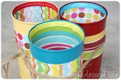 What a great use of metal cans! I have several cans that could be prettied up. Silverware Caddy, Plastic Silverware, Cutlery Holder, Home Crafts, Fun Crafts, Crafts For Kids, Metal Crafts, Teacher Gifts, Shelf Reliance