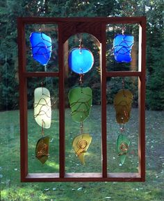 Suncatcher, Sun Catcher, Stained Glass, Sea Glass, Beach Glass, Copper, Framed, Hanging. $235.00, via Etsy.
