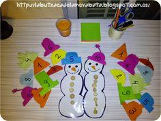 En cada barret hi ha escrit un número i els infants han de posar al ninot de neu tants botons com indiqui el barret.