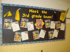 I used this bulletin board to introduce the 3rd grade teachers at the beginning of the school year. I utilized a PrintShop template from hill.troy.k12.mi.us/staff/bnewingham/myweb3/ to make the baseball card pictures with each teacher's photo. Then,  Collect Sports Cards as an Investmet...For Fun...Hobby done with the Kids...Hobby for Yourself!