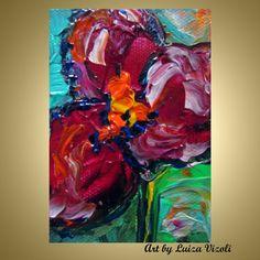 ACEO Original Oil Painting Fuchsia Miniature Flower by LUIZAVIZOLI, $25.00
