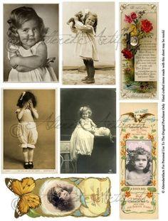 Instant Download Little Miss PostcardsVictorian Label Lable Vintage Postcard…