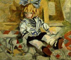 """Rafael Barradas. """"Muñeca (Pepona)"""", 1919, Óleo sobre lienzo, 53 x 62 cm"""