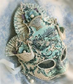 Never seen a Toile design on a mask before. Dances Of Vice Mask-Swan Lake in Blue. Mascaras Halloween, Halloween Masks, Halloween Makeup, Marie Antoinette, Venice Mask, Masquerade Party, Masquerade Masks, Beautiful Mask, Carnival Masks