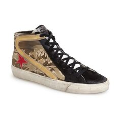 Golden Goose Women's Golden Goose High Top Sneaker (785 AUD) ❤ liked on Polyvore featuring shoes, sneakers, camoflage, camo shoes, camouflage sneakers, suede high top sneakers, high top trainers and metallic high top sneakers