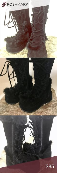Chunky platform boots size 7 Never worn! Black chunky platform boots, ordered through a designer in California, never found an event to wear these at. Super fun warm winter boots that will add a little variety to your shoe collection, I would say these run a little small. Shoes Winter & Rain Boots