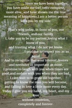 Distance Quotes : QUOTATION - Image : Quotes Of the day - Description Completely and Forever wedding vows for him Sharing is Caring - Don't forget to Wedding Vows For Him, Romantic Wedding Vows, Do It Yourself Wedding, Wedding Quotes, Wedding Tips, Perfect Wedding, Wedding Planning, Dream Wedding, Trendy Wedding