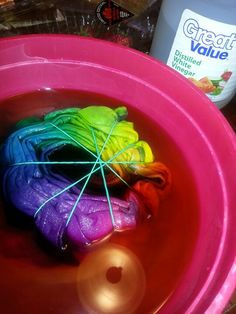 HOW TO SET YOUR TIE DYE :To set tie dye,  you will need a bucket or a large bowl. Fill it half way with distilled white vinegar.  Add 1/2 cup of salt and stir until dissolved. Place newly dyed garment(s)  in bucket and fill the rest with cold water until shirt it is submerged.  Let soak for 15-30 minutes.  For further color setting add another 1/2 cup of salt & 1 cup of white vinegar to normal wash laundry load. Keeps the colors brighter and lasting longer! Doing this with my Camp W shirt!