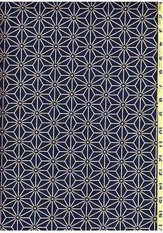 Japanese Asian Quilting Fabric - Indigo - Tan Asanoha (Hemp Leaf)  - 3 inch size