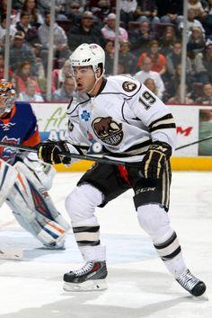 01.18.14 - Hershey Bears player, Joel Rechlicz.  Photo courtesy of JustSports Photography