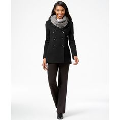 Calvin Klein Wool-Cashmere-Blend Peacoat ($130) ❤ liked on Polyvore featuring outerwear, coats, black, black coat, black pea coat, double breasted wool coat, double breasted woolen coat e wool peacoat