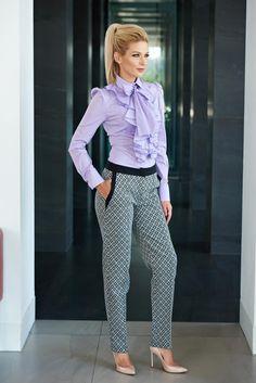 Pantaloni LaDonna Office Diamonds Black. Pantaloni LaDonna din bumbac, drepti…