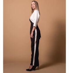 Δίχρωμη Ολόσωμη Φόρμα Κρουαζέ | Λευκό - Μαύρο Harem Pants, Fall Winter, Fashion, Moda, Harem Jeans, Fashion Styles, Harlem Pants, Fasion, Harem Trousers