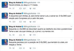 Noblat sugere que ele e O Globo são anti-democráticos e marca 4 gols contra em 4 tweets