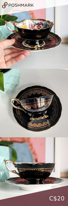royal stafford black w/ gold lace tea cup & saucer royal stafford black with gold lace teacup & saucer. cup interior has a hidden floral motif of cheerful pansies. cup & saucer are both elegantly scalloped. this set has been well loved and does show vintage wear. loss of gold gilding along handle & base, a few scratches, and a bit of paint loss. this wear tells you that if this set could talk, it would definitely know all the gossip from years of tea parties! no chips or cracks. cup diameter… Starbucks Ceramic Mug, Reusable Plastic Cups, Mermaid Mugs, Davids Tea, Royal Stafford, French Press Coffee Maker, Cool Mugs, Beaded Choker Necklace, Brewing Tea