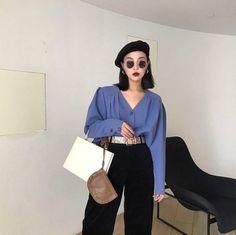 FFSTUDIO custom autumn women 2017 new retro Hong Kong corduroy high waist straight nine points wide leg pants - Taobao global station Korean Street Fashion, Asian Fashion, Look Fashion, 90s Fashion, Girl Fashion, Fashion Outfits, Womens Fashion, Fashion Trends, Fashion Fall