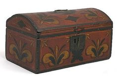AMERICAN PAINTED AND DECORATED DOME TOP BOX, THE TOP WITH INITIALS - A.D.