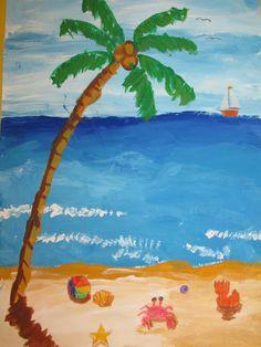 "3rd grade palm tree/beach seascape painting; 12"" X 18""; lesson by art teacher: Susan Joe"