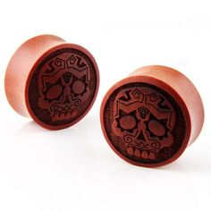 00g Pair of Double Flared Ebony Eyelets with Copper Lotus Drop Inlay
