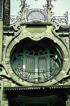 Art Noveau- Detail of Maison St Cyr, Brussels built between 1901 and 1903. Architect Gustave Strauven