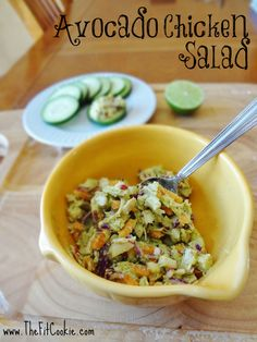Avocado Chicken Salad - Mayo Free!  1/2 tsp coarse mustard, garlic powder, juice 1/2 lime, 1/2 cup chopped veg, 1/2 avocado, 1 cup chicken.