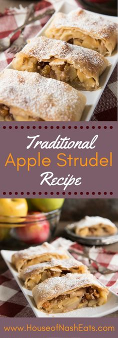 This Apfelstrudel recipe (German Apple Strudel recipe) might sound daunting, but it's much easier than it seems and so much fun to make. And the resulting apple strudel is a delicious, festive-feeling dessert filled with sweet, spiced apples and raisins German Desserts, Köstliche Desserts, Delicious Desserts, Dessert Recipes, German Food Recipes, Spanish Desserts, Italian Desserts, Traditional Apple Strudel Recipe, German Apple Strudel Recipe