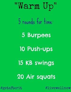 "Going to go do this right now! - ""warm up"" mini-WOD @CarrotsNCake"
