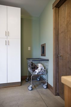 Blog Cabin has a laundry chute from the master bedroom to the mudroom.